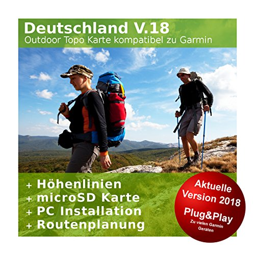 Deutschland V.18 - Profi Outdoor Topo Karte kompatibel zu Garmin GPS 60, GPSMap 60Cx, GPSMap 60CSx, GPSMap 62s, GPSMap 62sc, GPSMap 62st, GPSMap 62stc, GPSMap 64, GPSMap 64s, GPSMap - Garmin 62sc-gps Gpsmap