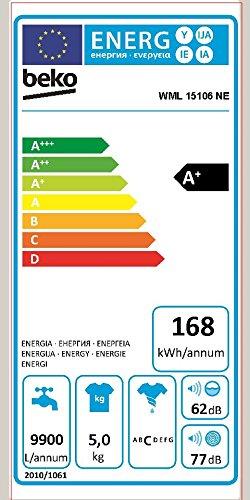 Beko WML 15106 NE Waschmaschine Frontlader / A+ / 168 kWh/Jahr / 1000 UpM / 5 kg / weiß / Programmablaufanzeige / Mini 30-Programm - 2