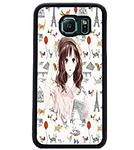 PrintDhaba Hat Girl D-1100 Back Case Cover for SAMSUNG GALAXY S6 (Multi-Coloured)