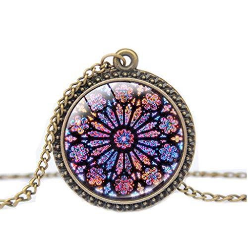 TTLOVE Mode Vintage Halskette Rose Window Glasmalerei De Paris Kathedrale AnhäNger Sehr Gute Gedenksammlung Geburtstagsgeschenk (Halskette Blume Geburt Monat)