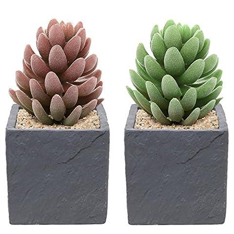 Lot de 2pots fleurs fleur plante décoration pierre naturelle DESIGN contemporain Ciment, gris–mygift