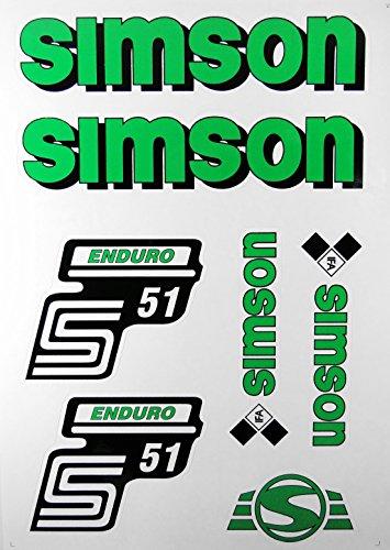 Aufkleber-Set Simson S51 Enduro grün Seitendeckel Tank BJ-Handel