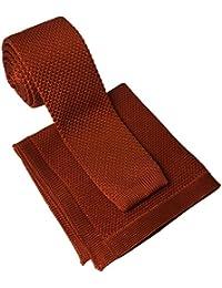 Burnt Orange Knitted Tie & Matching Pocket Square