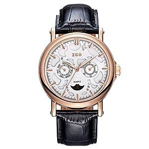 Correa de cuero de calidad rose gold reloj de cuarzo de luna/Blu-ray doble calendario medio tercer ojo reloj-Q marca ZHANG Maid