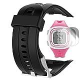 Garmin Forerunner 10 15 Band (piccolo schermo 2.1CM) con protezione dello schermo, TUSITA sostituzione morbida silicone braccialetto sport cinturino WristBand accessorio per Garmin Watch (NERO)