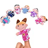 Funmazit Finger Puppets Set Family, Educational Hand Puppet Cartoon Plush Dolls Toys for Babies Children Toddlers Kids Velvet Learn Story Time Props Easter Gift (6 pcs Family Member)