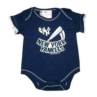 MLB New York Yankees Baby One-Piece Short Sleeve Romper / Onesie 24M Dark Blue