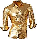 jeansian Herren Freizeit Hemden Bronzing Slim Button Down Long Sleeves Dress Shirts Tops Z036 Gold XL