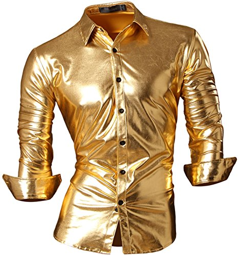 jeansian Herren Freizeit Hemden Bronzing Slim Button Down Long Sleeves Dress Shirts Tops Z036 Gold L (Gold Kostüm Männer)