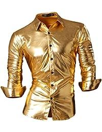 Jeansian Men's Fashion Bronzing Bling Shiny Slim Button Down Long Sleeves Dress Shirts Tops Z036