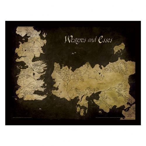 Pyramid International-Póster de Juego de Tronos (de Mapa de Westeros y Essos Mapa Antiguo) impresión enmarcada Memorabilia, 30x 40x 1,3cm