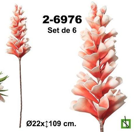 flores en gomaeva - Set de 6 flores en color salmón