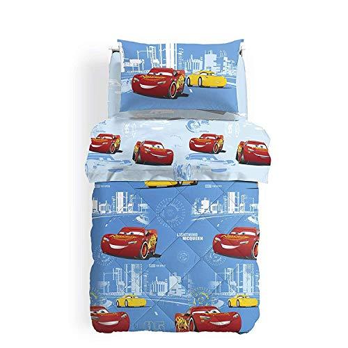 Caleffi Steppdecke für französisches Bett, Gewicht Winter, original Disney Art. Cars Record 75910 aus Reiner Baumwolle cm. 215X260 -