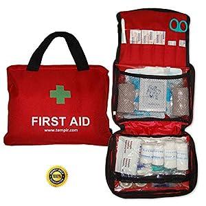 TempIR Erste-Hilfe-Set, Tasche mit über 100Teilen für Reise, Auto, Haus, Camping, Arbeit, Wandern, etc., inkl. Augenspülung, CPR-Maske, Thermodecke, Pinzette, Schere, Bandagen, Pflaster, etc. TempIR Komplett-Kit für den Schutz von Ihnen und Ihrer Familie.