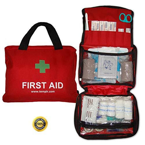 Erste-Hilfe-Set mit über 100 Teilen, für Reisen, Auto, zu Hause, Wohnwagen, Kampieren, Überleben und Arbeit. Beinhaltet Augendusche, Rettungsdecke, Kühl Akku und vieles mehr. - Reanimation Tasche