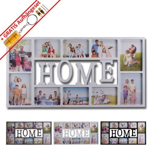 """Bilderrahmen Fotorahmen Collage """"Home"""" 10x15 13x18 für 10 Fotos in schwarz, weiß od. grau inkl. Aufhängeset (Home weiß)"""