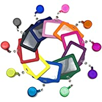 mciskin Lot de 10 porte-cartes multicolores en cuir synthétique avec clip rétractable Horizontal