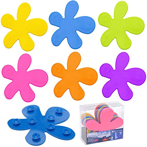 promobo-set-lot-6-antiderapant-ventouse-bain-forme-fleur-multicolore