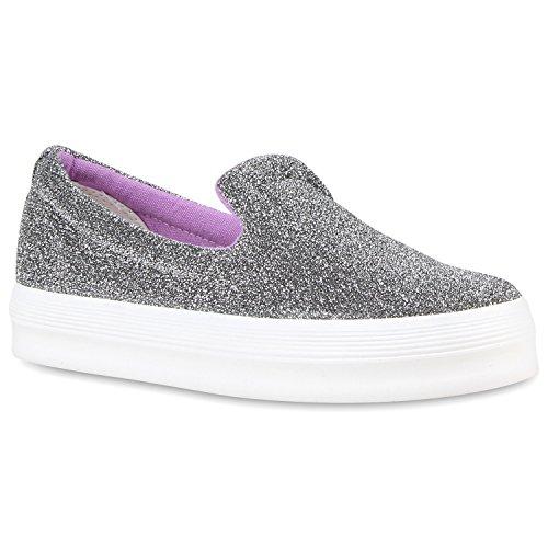 Damen Sneakers Sneaker Slip-Ons Plateau Slipper Plateau Strass Neon Blumen Flats Animal Prints Freizeit Schuhe 117245 Grau 40 | Flandell® (Strass-mokassin)