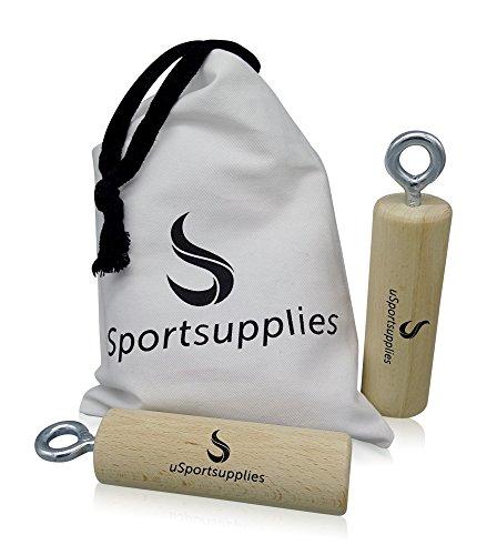 uSportsupplies Trainingsgriffe für Mehr Griff- und Greifkraft - Rundstäbe/Holz 2er Set für Das Optimale Kletter-, Unterarm- und Fitnesstraining - inkl. Aufbewahrungsbeutel