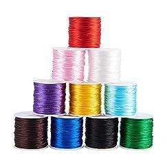Idea Regalo - PandaHall Elite 10 roll 10 colori 1 mm Rattail Satin Nylon Filo per braccialetti collana filo per cinese nodo cordone per perline