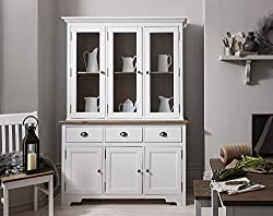 Noa and Nani - Canterbury Dresser and Sideboard with Solid Doors - (Dark Pine and White)