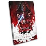 Bold Bloc Design - Star Wars Last Jedi Poster Gaming 120x80cm SINGLE Leinwand Kunstdruck Box gerahmte Bild Wand hangen - handgefertigt In Grossbritannien - gerahmt und bereit zum Aufhangen - Canvas Art Print
