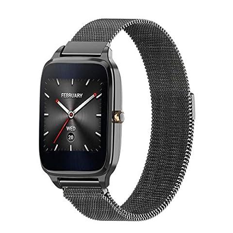 22mm magnetisch Armbanduhr Band, happytop Edelstahl Armband Ersatz Handschlaufe für Asus ZenWatch 2 S