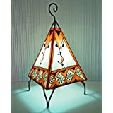Painted Moroccan Henna Table L& - Pyramid - Orange u0026 Cream 38CM / JANUARY OFFER. by MAISON ANDALUZ  sc 1 st  Amazon UK & Amazon.co.uk: MAISON ANDALUZ: Lighting azcodes.com