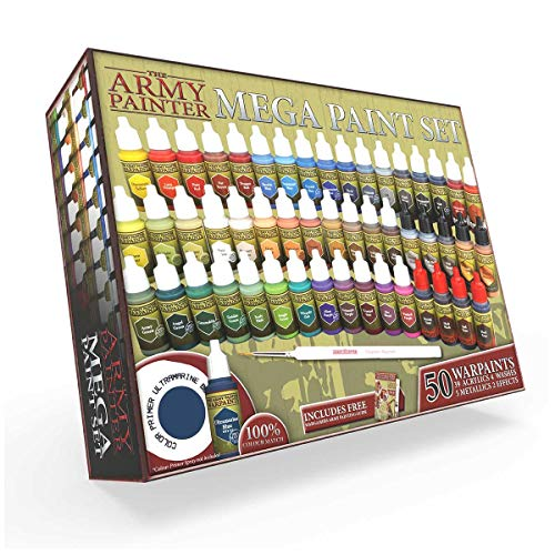 The Army Painter | Warpaints Mega Paint Set, 50 Acrylic Paints and 1 Wargamer: Regiment Brush - Comprehensive starter set for Wargames, Roleplaying and Tabletop Miniature Model Painting