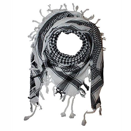 Superfreak® Palituch mit Karo-Muster klein°PLO Schal kariert°100x100 cm°Pali Palästinenser Arafat Tuch°100% Baumwolle, Farbe: weiß/schwarz