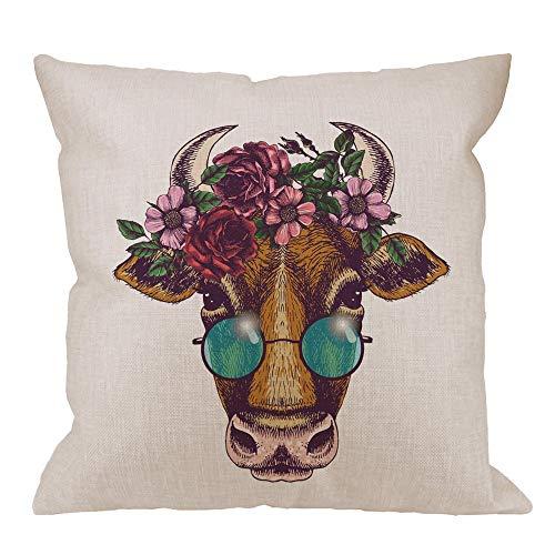 funny cat Kuh dekorative Throw Pillow Cover Case, lustige Kuh mit Blumenkranz und Runde Sonnenbrille Baumwolle Leinen Outdoor Kissenbezüge Kissenbezüge für Sofa Couch Bett braun rosa, 45 X 45 cm