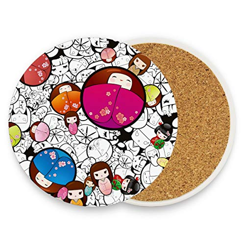 Japan Elements Runde saugfähige Keramik-Untersetzer für Kaffeetassen und Tassen, Set für Zuhause, Büro, Bar, Küche (Set von 1 Stück), keramik, multi, 2er-Set