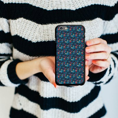 Apple iPhone 6 Housse Étui Silicone Coque Protection Oiseaux Bleu Bleu CasDur noir
