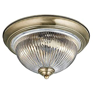Searchlight American Diner Flush Fitting Ceiling Light Antique Brass Finish 4370