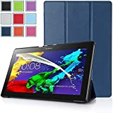 Bestdeal® High Quality Ultra Slim Lightweight SmartCover Stand Case for Lenovo Tab 2 A10-70 10.1 inch Tablet PC + Screen Protector and Stylus Pen (Navy Blue)