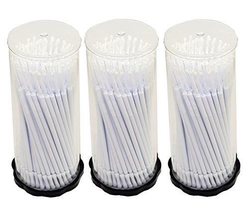 300 pièces Lot de 3 x 100 Tube Applicateur en microfibre Bâtonnets de nettoyage de Blanc 1,5 mm pour extensions de cils