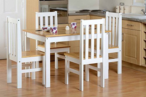 ValuFurniture Ludlow 1 Table 4 Chairs Dining Set Oak/White
