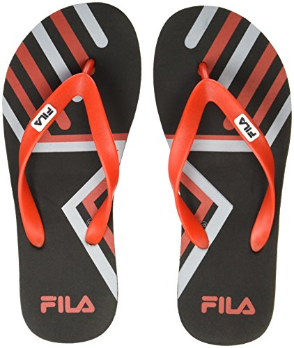 Fila Men's Frank Black/Red Flip Flops Thong Sandals - 10 UK/India (44 EU)