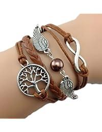 Infinity Bijoux - Pulsera infinito árbol de la vida, alas de ángel y perla / eternidad / one direction - marrón / plata