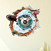 YUJIN Child Indoor Living Room Decals Decoration Mute Wall Clock 3D Personality Creative Clock Living Room Decoration Wall With Diy Personality Wall With Football