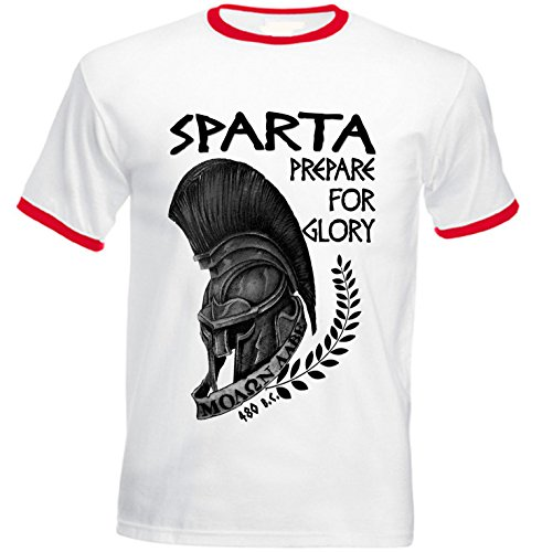 teesquare1st Men's Sparta Leonidas 3 Red Ringer Tshirt Large Size -
