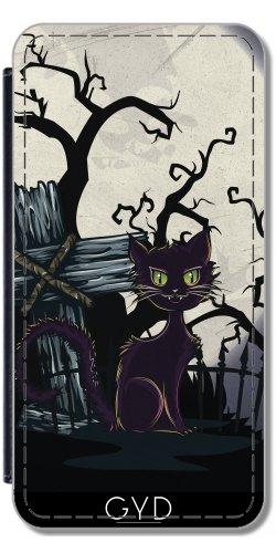 Leder Flip Case Tasche Hülle für Apple iPhone 5/5S - Vintage Halloween-Friedhof Katze by Gatterwe Lederoptik