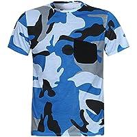 Camisa de Manga Corta de Bolsillo de Camuflaje Casual de Verano 2018 para Hombre Tops de