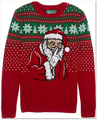 Ugly Christmas Sweater Company Herren Ugly Christmas Sweater - Light-Up Don't Tell On Santa Pullover, Cayenne, X-Groß