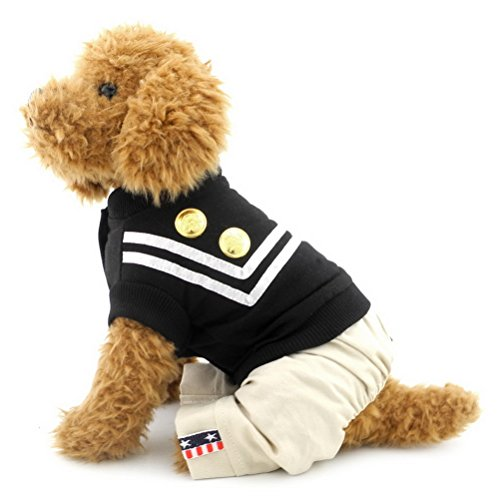 zunea Sailor Naval Uniform Hund Jumpsuit Shirts Baumwolle Weich Atmungsaktiv Puppy Schlafanzüge Coat Jacke Hose Kostüm, für kleine Haustiere Hund Katze