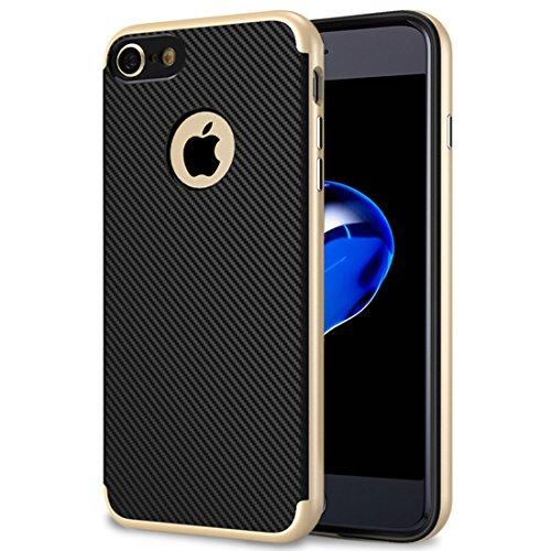 iPhone 7 Hülle, iPhone 8 Hülle, Ubegood iPhone 8/ iPhone 7 Handyhülle [TPU Schale + PC Rahmen] Anti-Scratch Schutzhülle Silikonhülle Ultra Dünn TPU Hülle iPhone 7/ iPhone 8 Case Cover - Golden