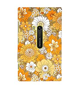 PrintDhaba Flowers D-2077 Back Case Cover for NOKIA LUMIA 920 (Multi-Coloured)