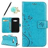 Uposao Kompatibel mit Galaxy Xcover 3 Brieftasche Hülle Leder Tasche Handyhülle Schutzhülle im Bookstyle Lederhülle Schmetterling Blumen Handytasche Ledercase Klapphülle Kartenfach,Blau