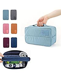 A2zonlineking Divided Underwear Pouch Make Up Kit Bra Storage Travel Organizer Bag (Multi-color)